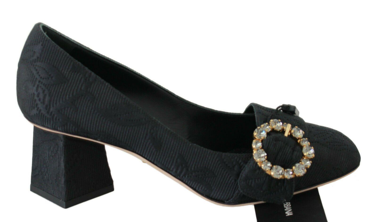Dolce & Gabbana Women's Jacquard Crystal Pumps Black LA6173 - EU36.5/US6