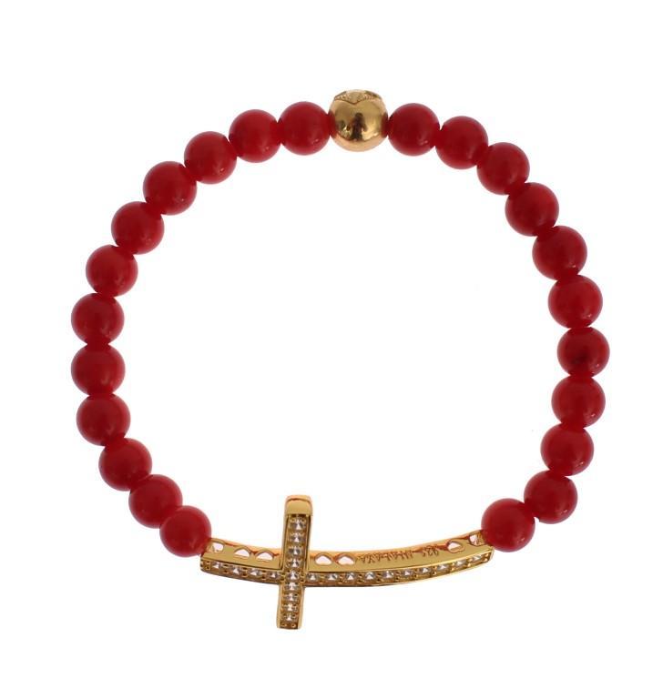 Nialaya Women's Coral CZ Cross 925 Silver Bracelet Red SIG19013 - S