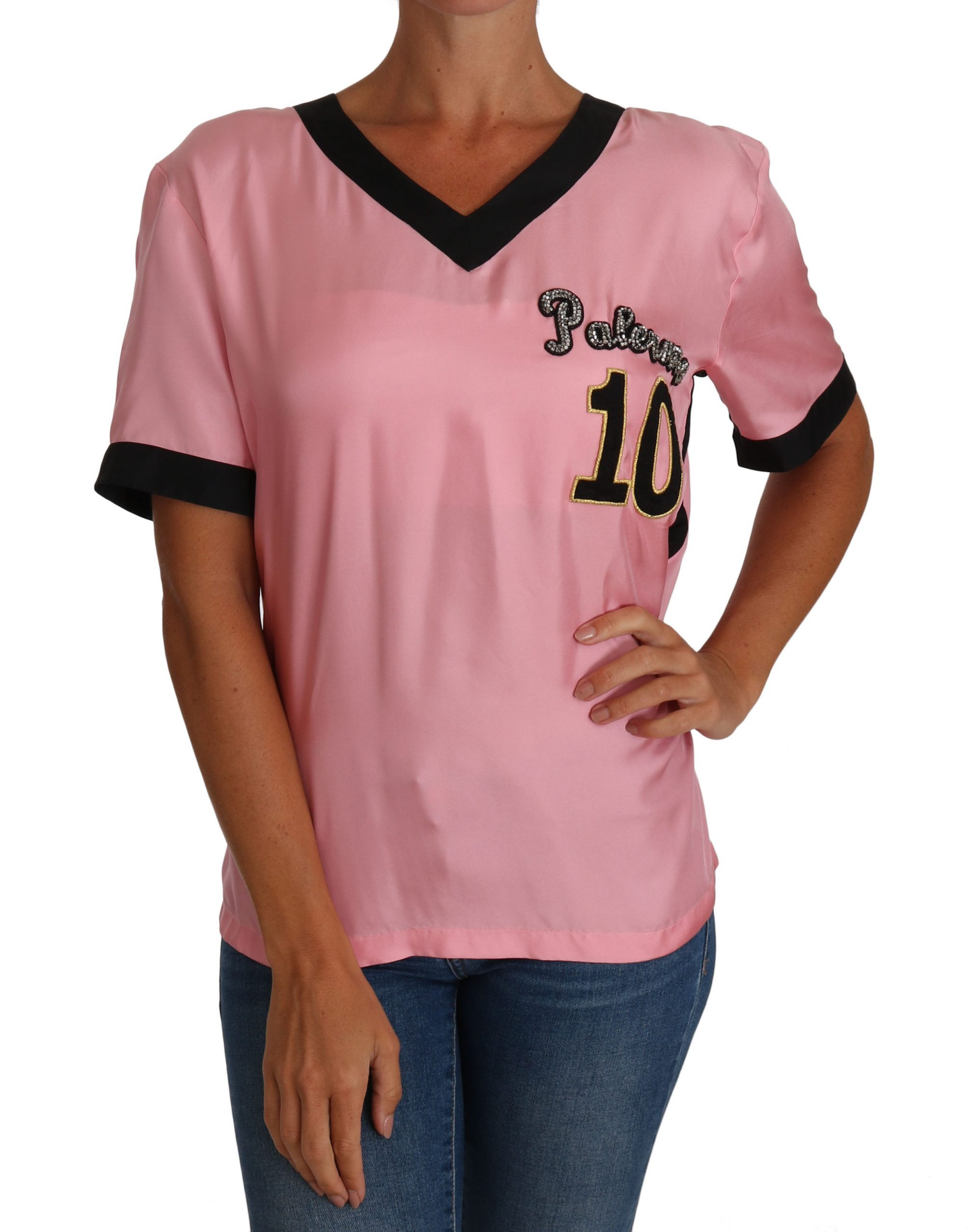 Dolce & Gabbana Women's Silk Crystal V-Neck T-Shirts Pink TSH2435 - IT44|L