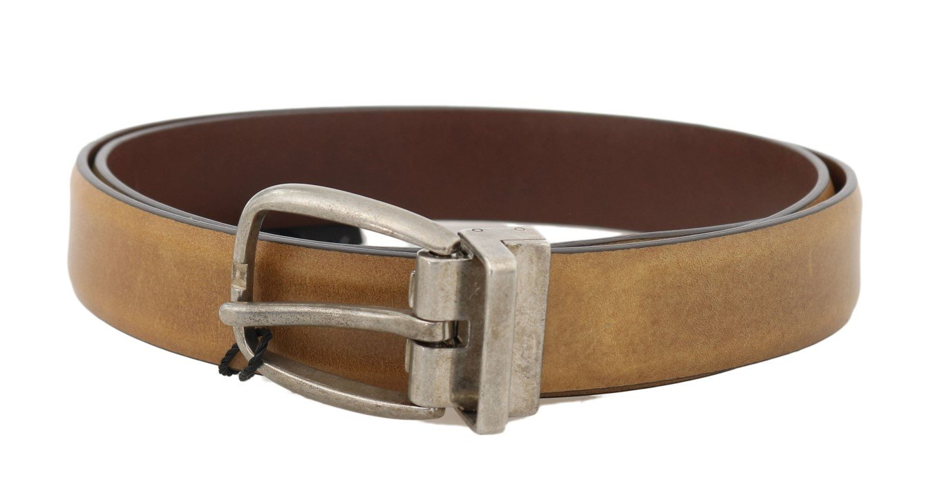Dolce & Gabbana Men's Leather Vintage Buckle Belt Yellow BEL50026 - 105 cm / 42 Inches