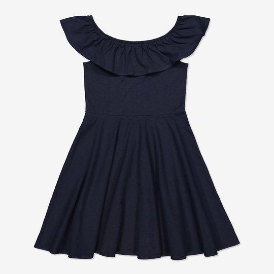 Off shoulder-kjole mørkblå