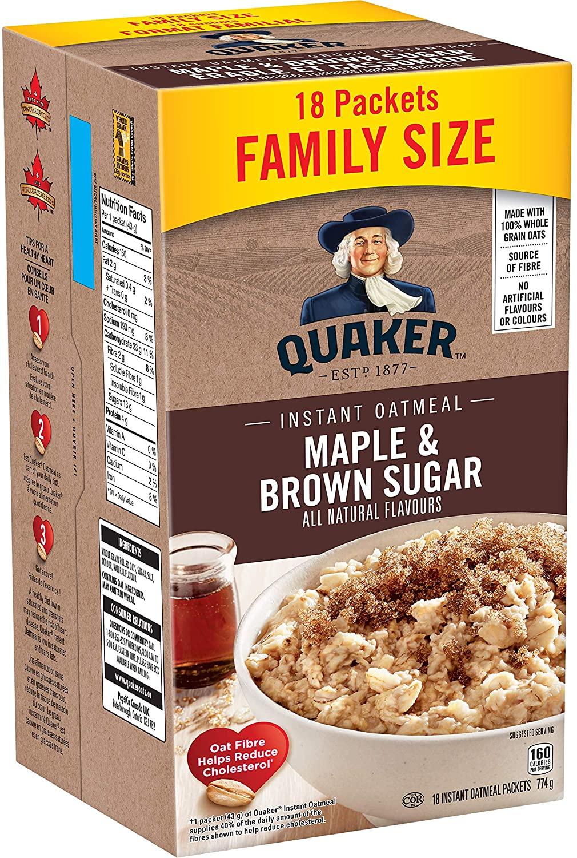 Quaker Instant Oatmeal Maple & Brown Sugar 774g