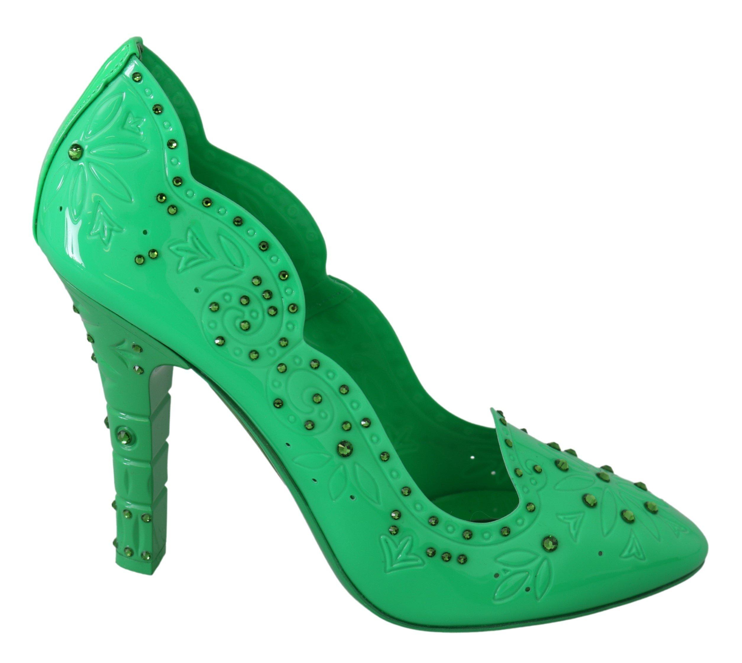 Dolce & Gabbana Women's Crystal Floral CINDERELLA Pumps Green LA7271 - EU40/US9.5