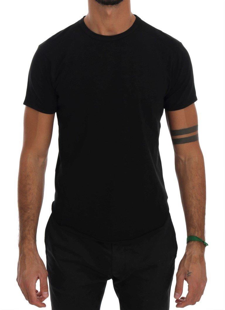 Daniele Alessandrini Men's Cotton Crewneck T-Shirt Black TSH1319 - S