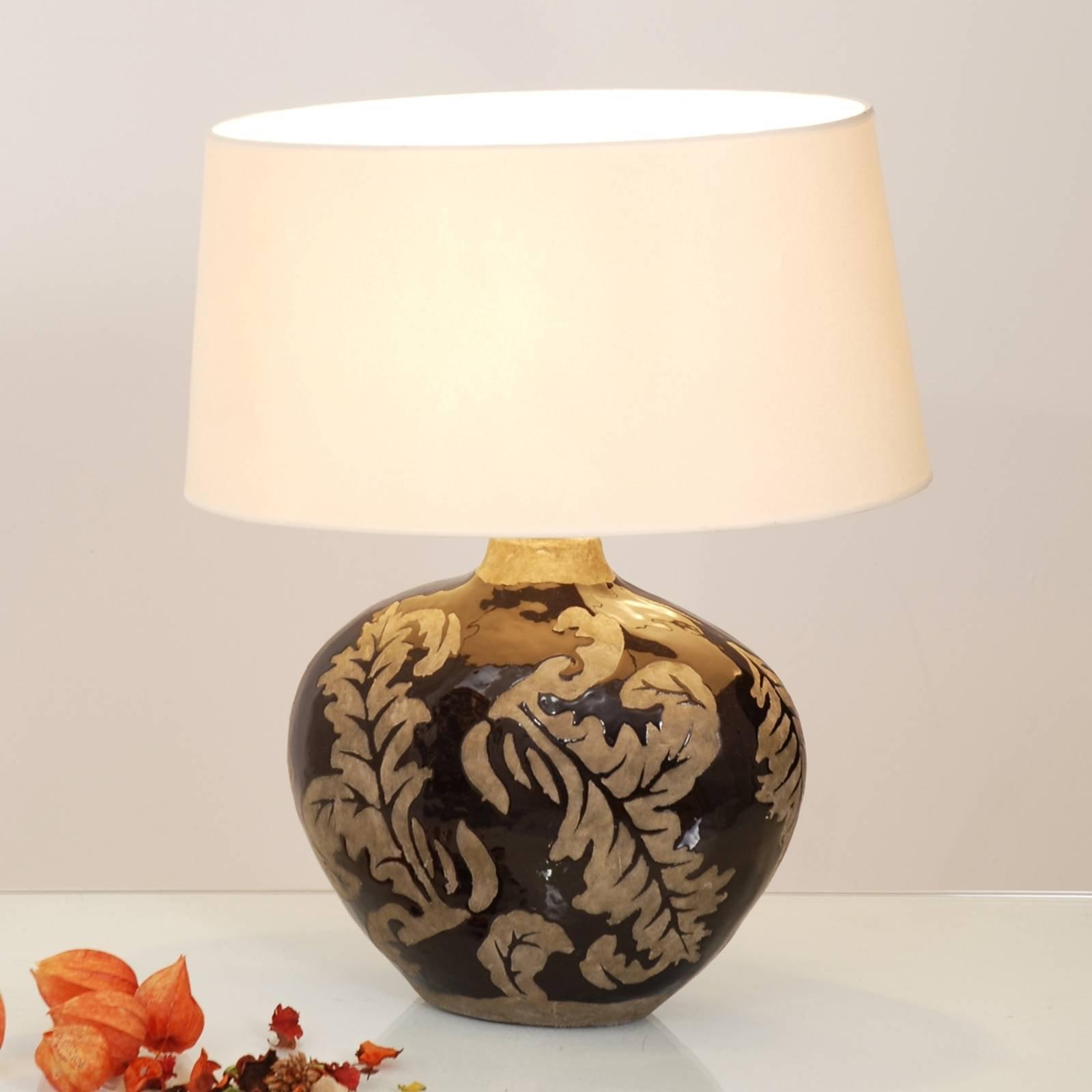 Bordlampe Toulouse, oval høyde 43 cm, svart