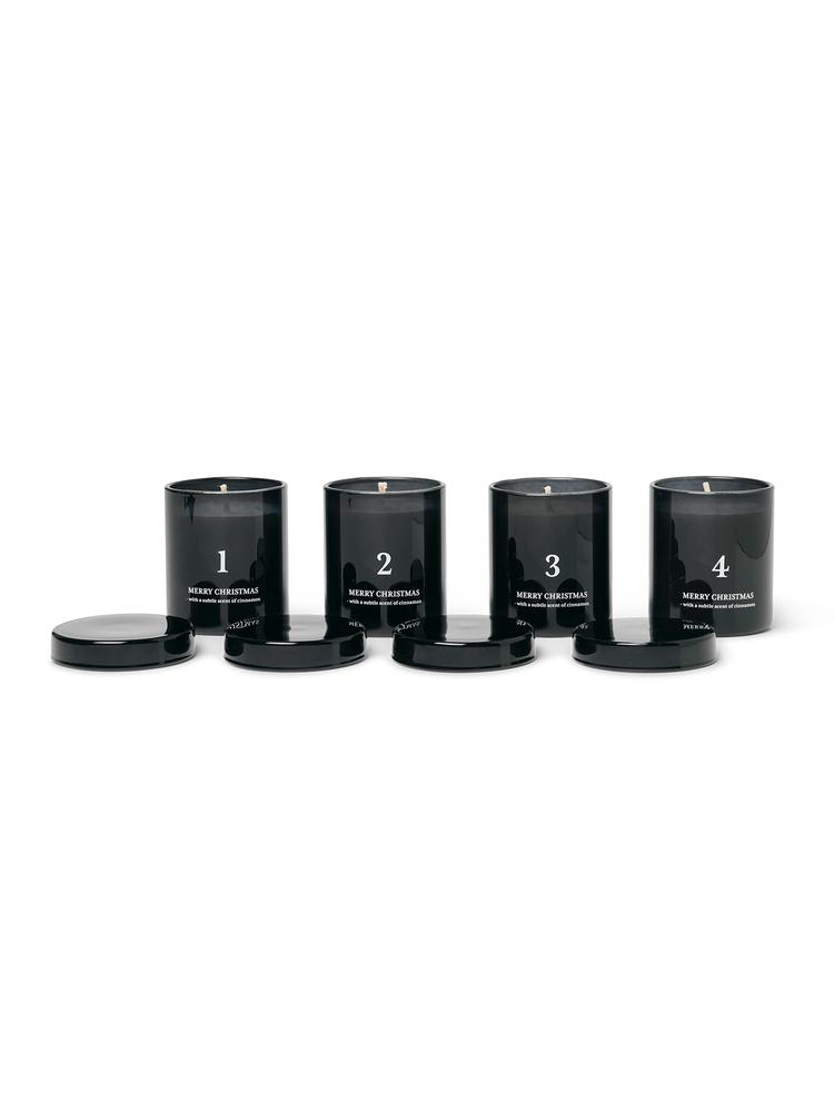 Ferm Living - Scented Advent Candles Set of 4 - Black (1104263198)