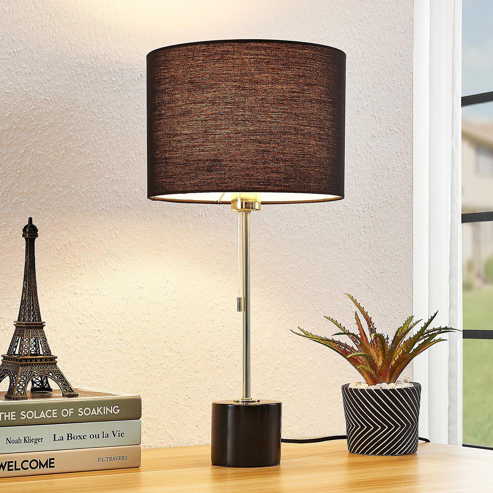 Lindby Josias bordlampe med stoffskjerm, svart