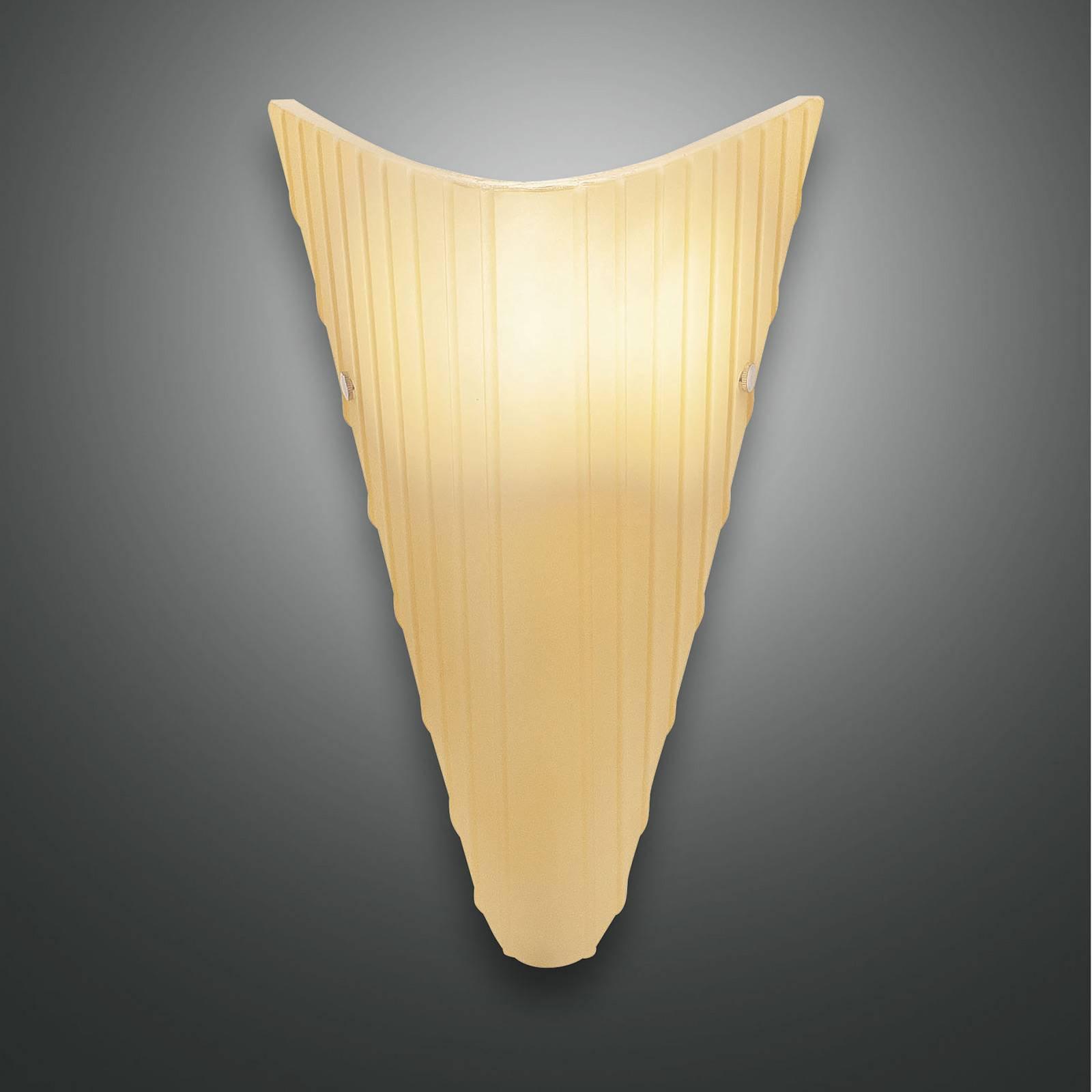 Vegglampe Fly med glasskjerm, ravfarget