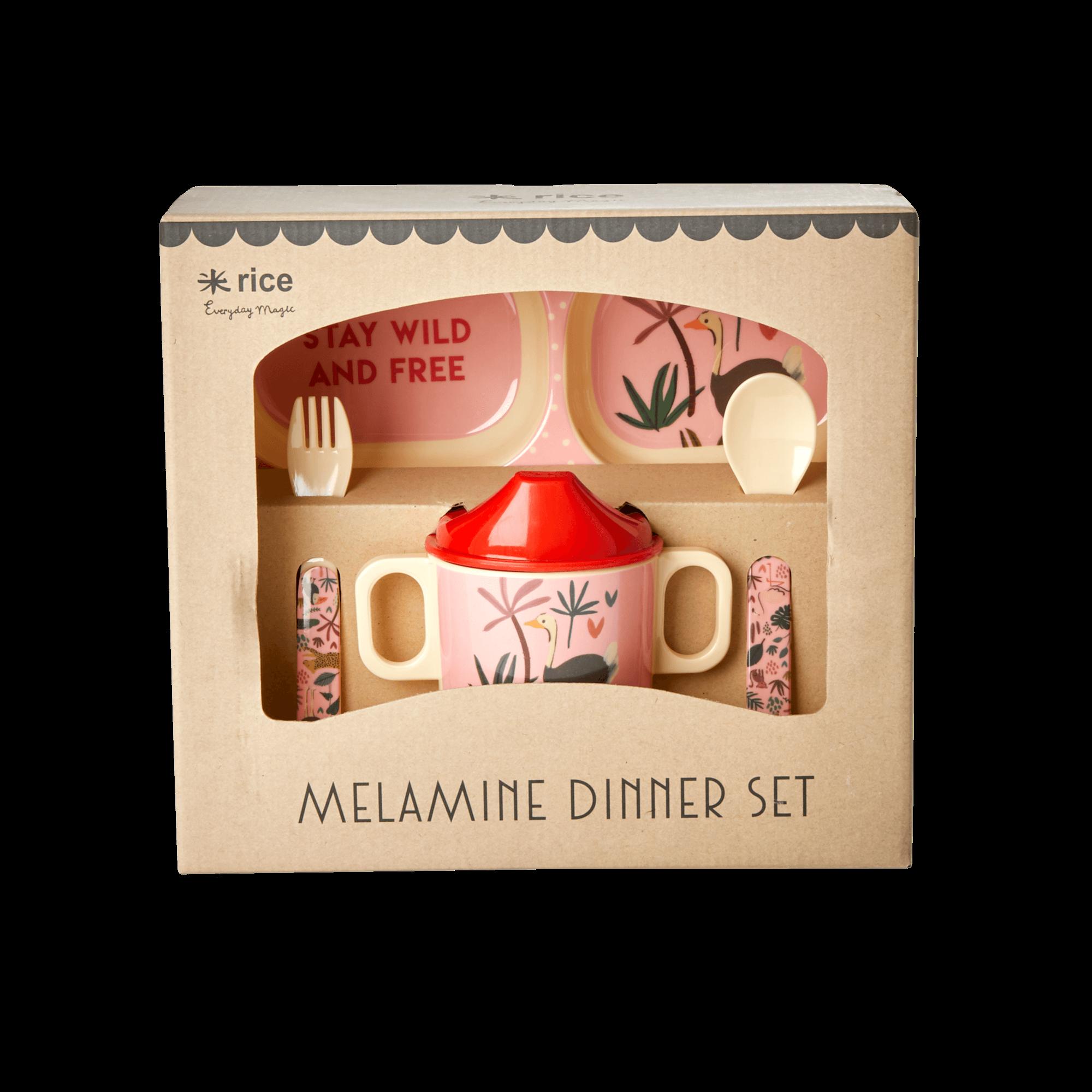 Rice - Melamine Baby Dinner Set Giftbox - Pink Jungle Animals Print