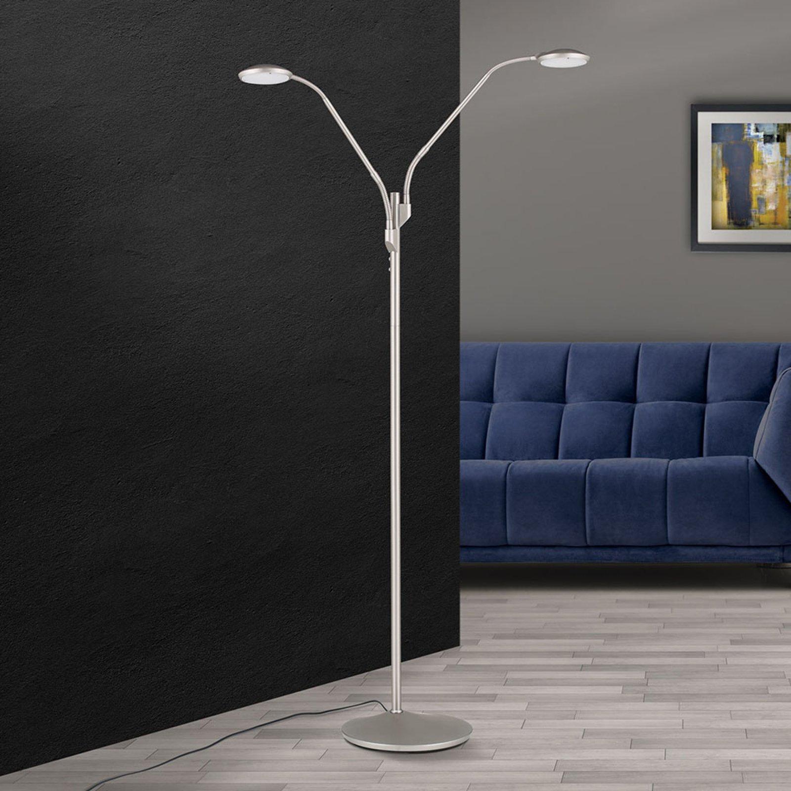LED-gulvlampe Cobra, 2 lyskilder, nikkel-matt