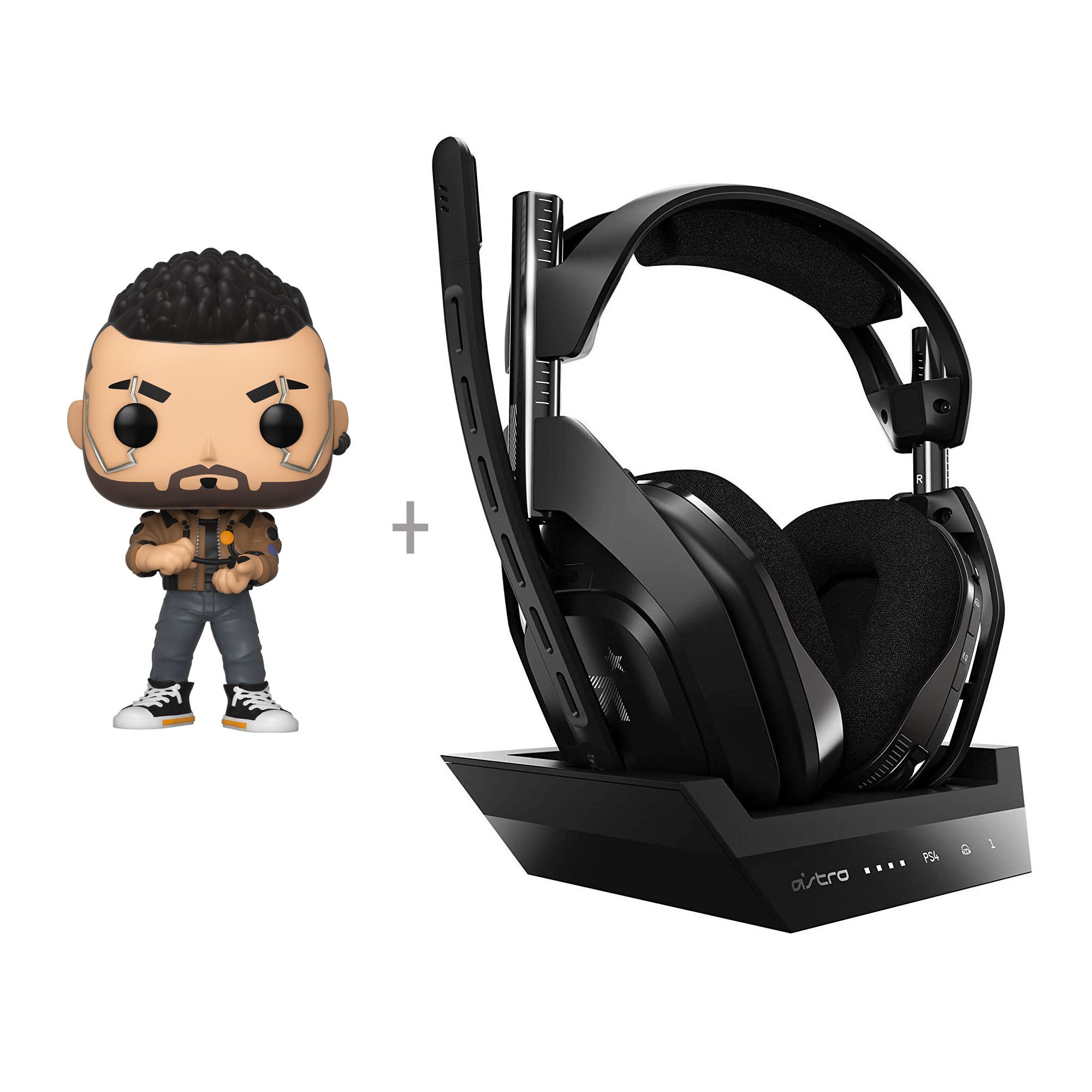 Astro - A50 Wireless + Base Station for PlayStation® 4/PC + Funko! POP - Games: Cyberpunk 2077 - V-Male (47159) - Bundle