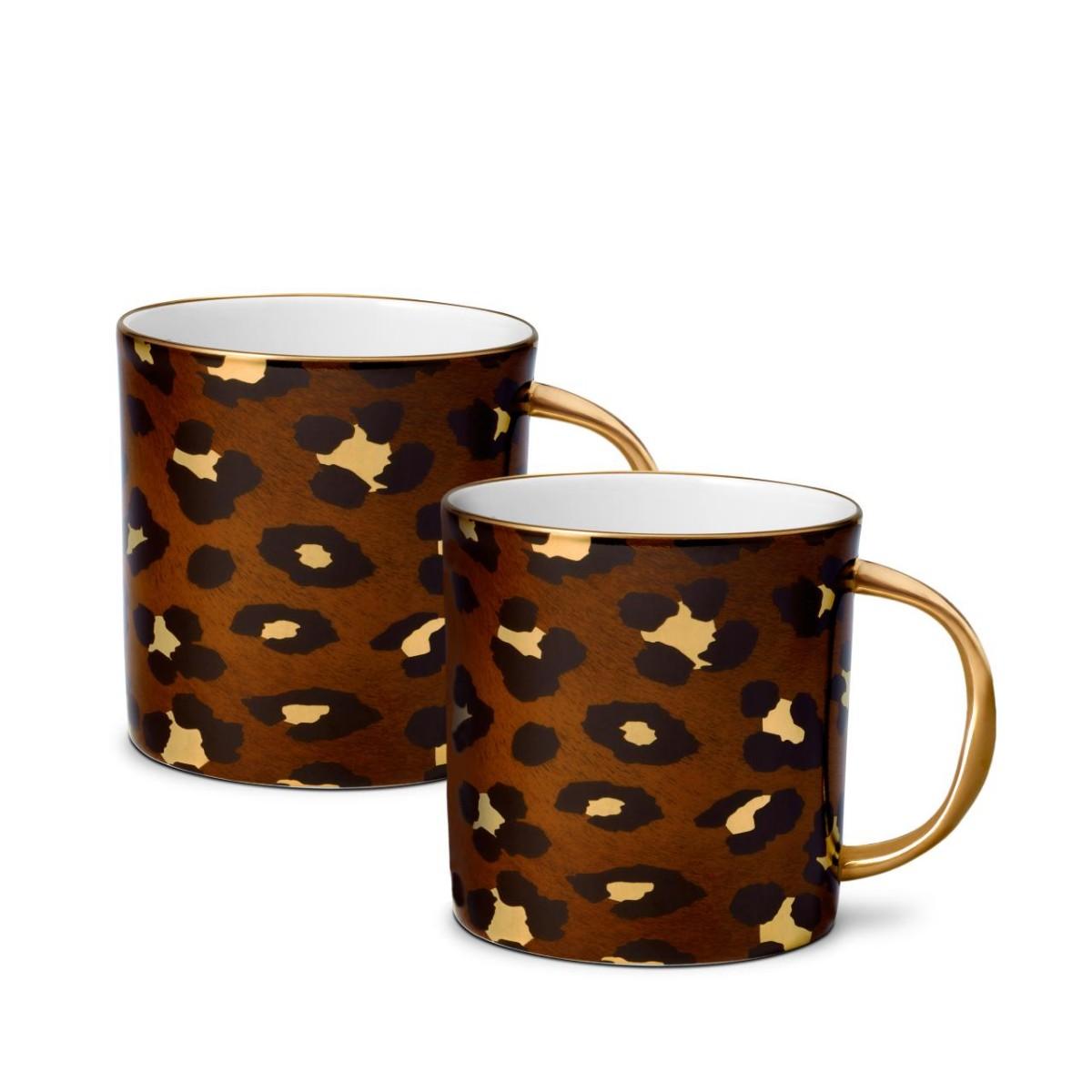 L'Objet I Leopard Mugs (Set of 2)