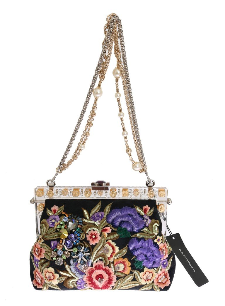 Dolce & Gabbana Women's VANDA Floral Embroidered Clutch Bag Multicolor VAS1248