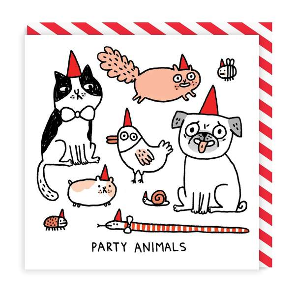 Party Animals Square Greeting Card