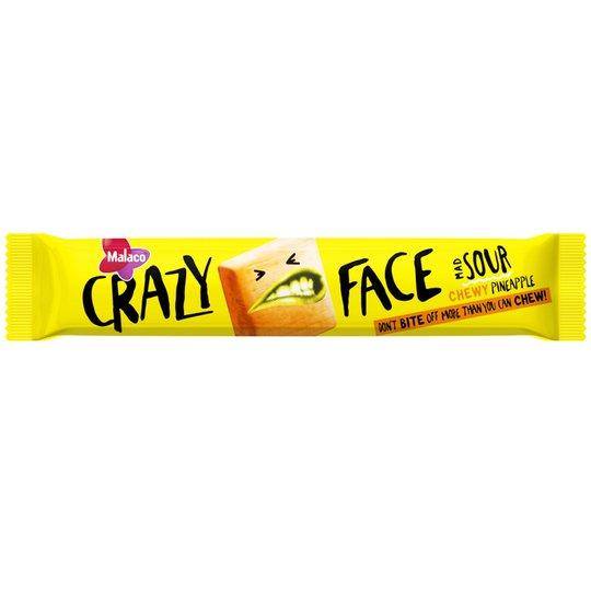 "Godis Crazy Face ""Chewy Pineapple"" 34g - 33% rabatt"