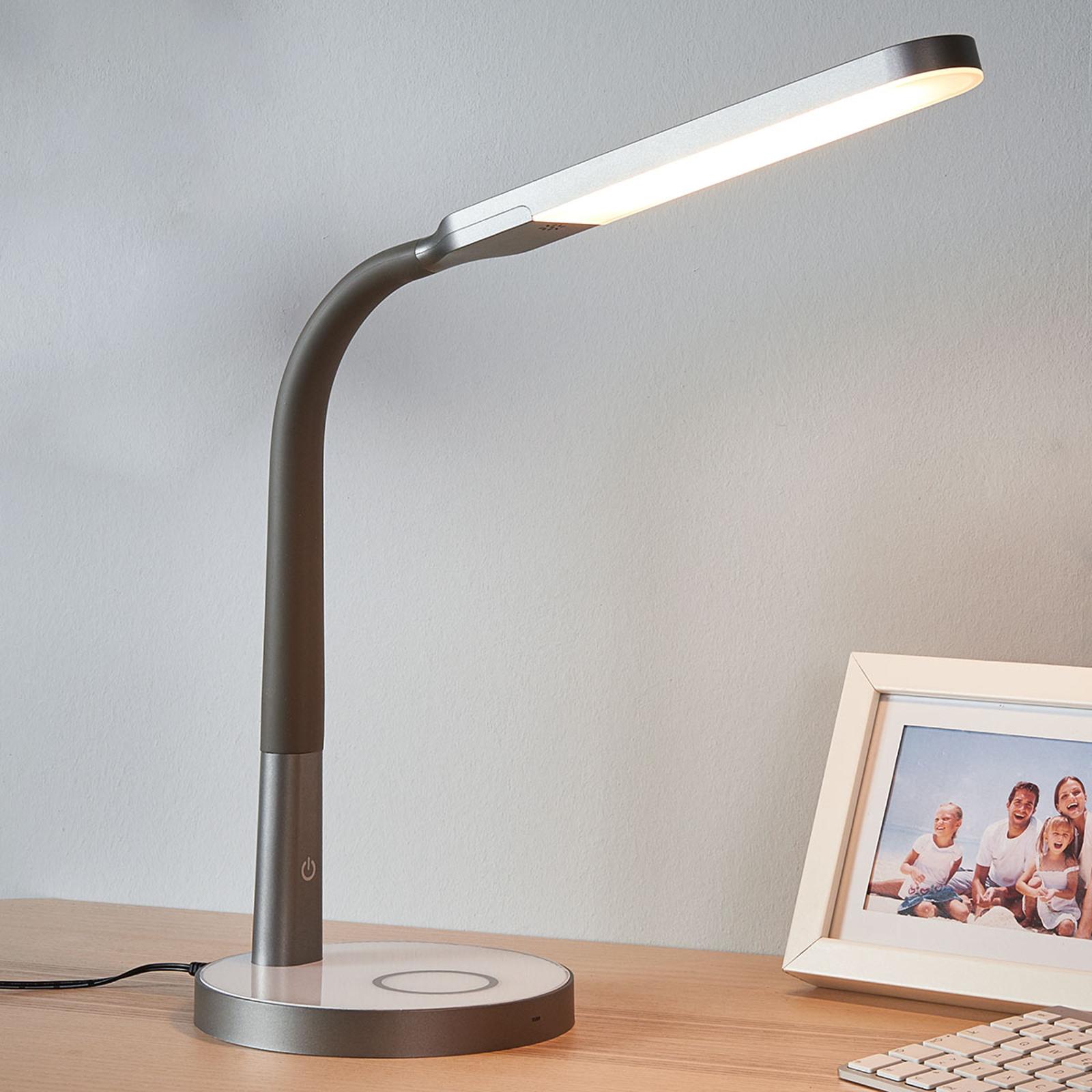 Maily -LED-työpöytävalaisin harmaa USB & himmennin