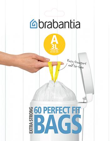 Søppelposer A, 3 Ltr (Dispenser Pakk med 60 poser) White