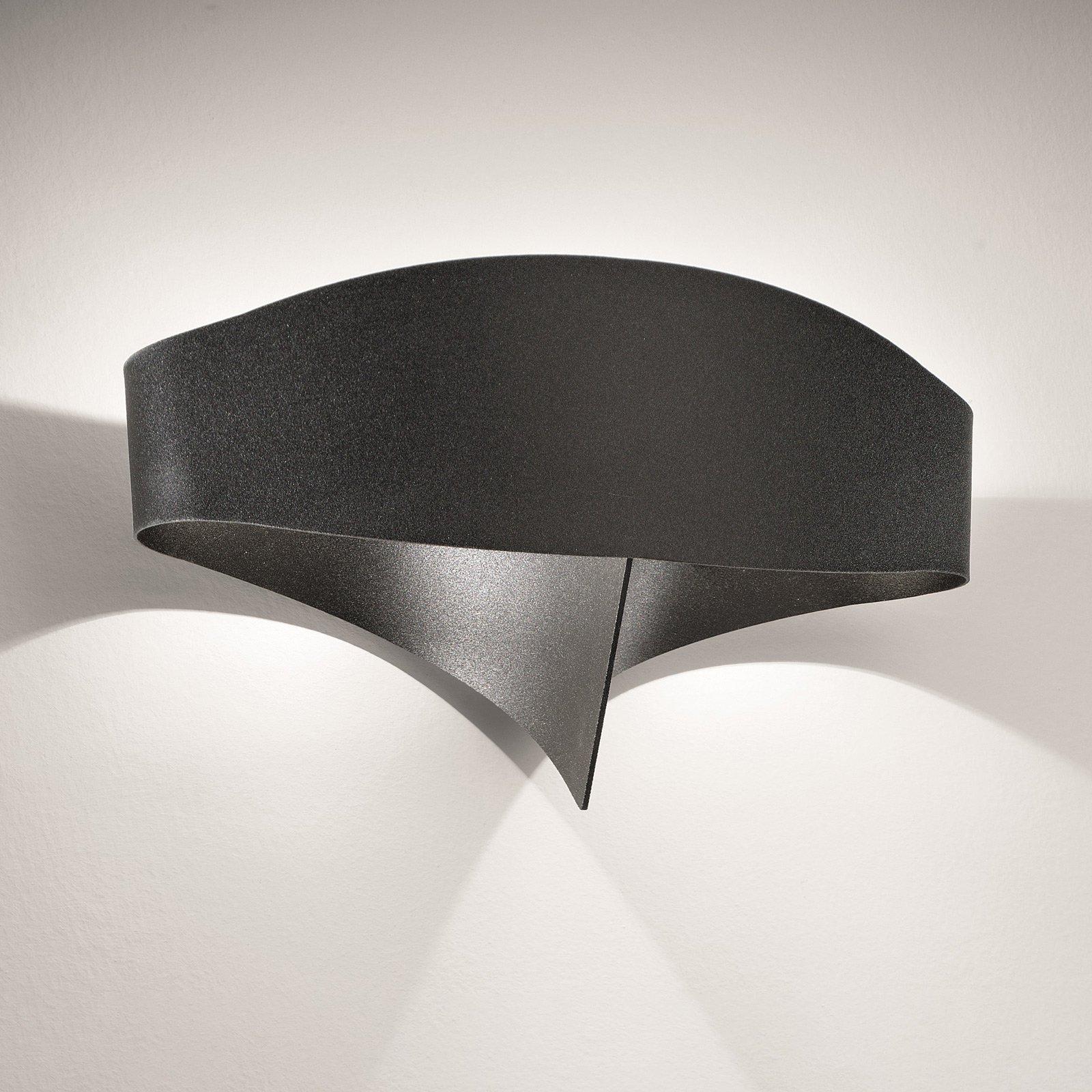 LED-vegglampe Scudo av stål, svart