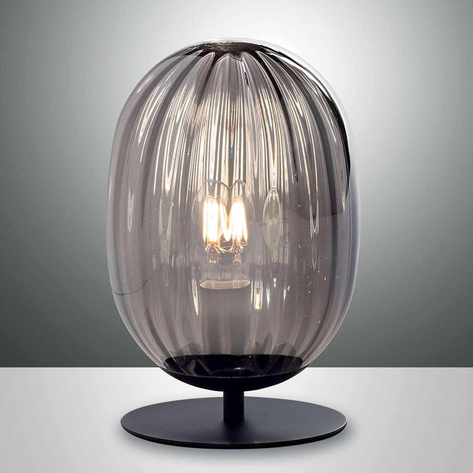 Bordlampe Infinity med krummet glasskjerm