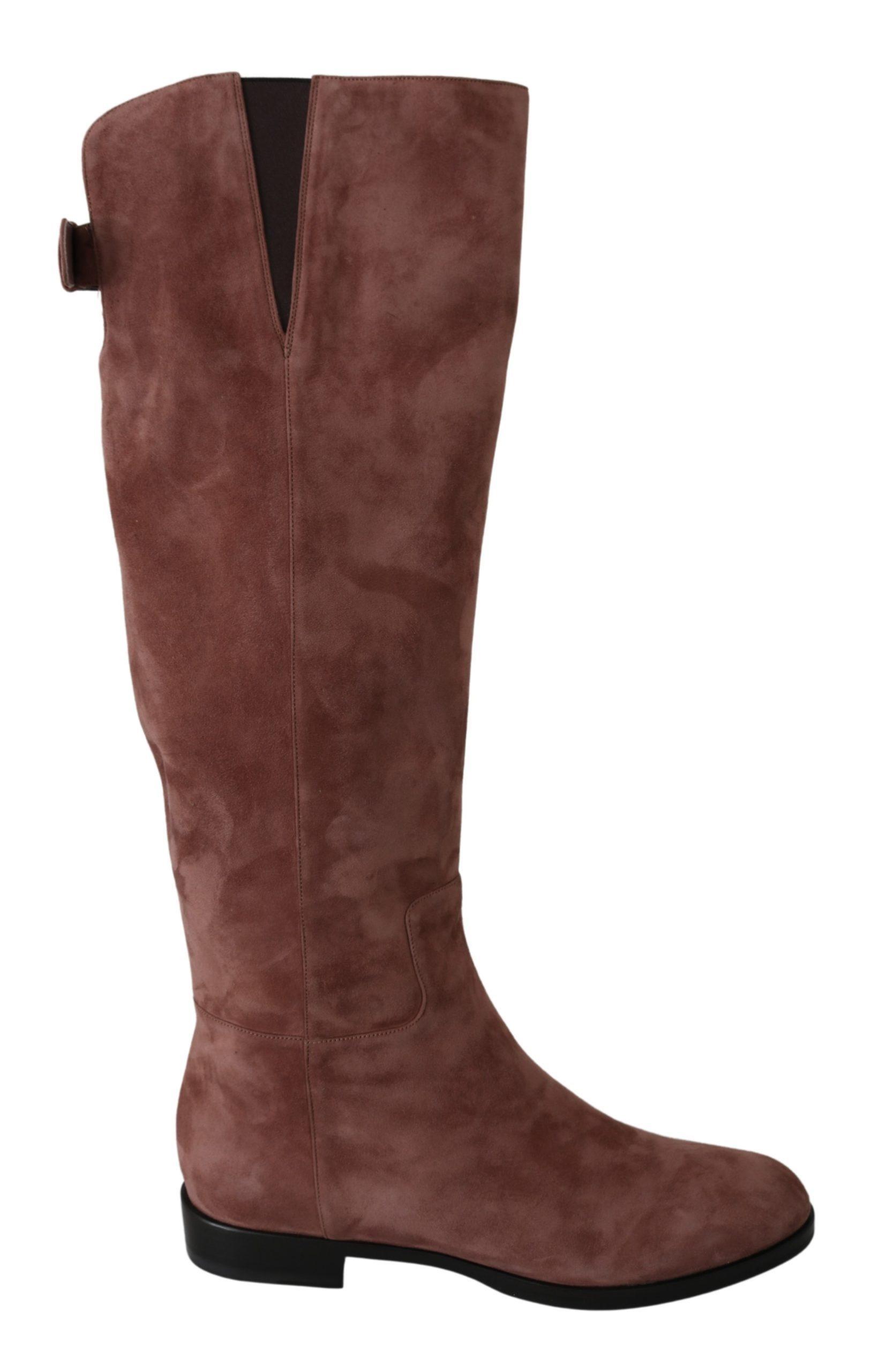 Dolce & Gabbana Women's Leather Suede Boots Beige LA6693-39 - EU39/US8.5