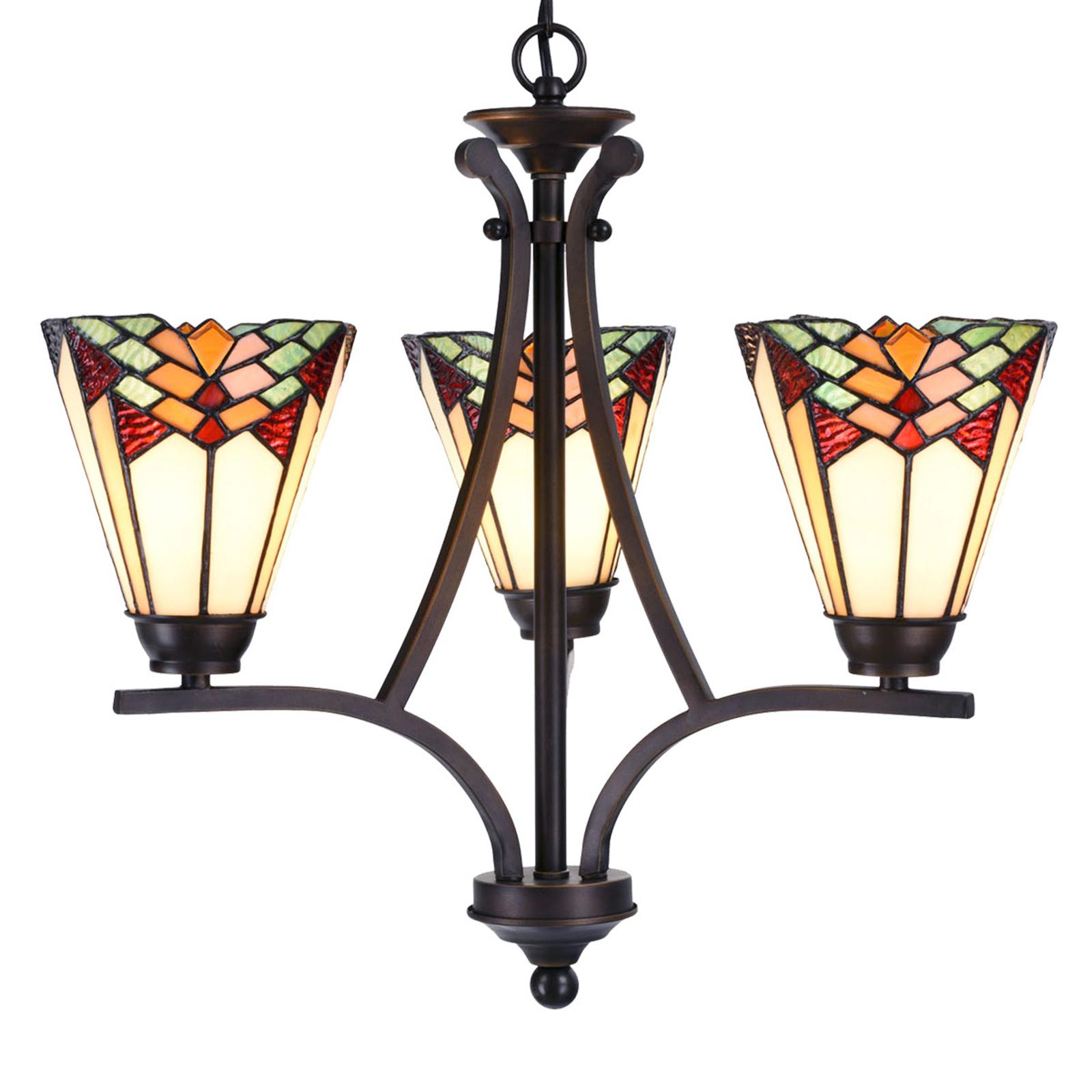 Kattokruunu 5967, 3-lamppuinen, tiffany-tyylinen