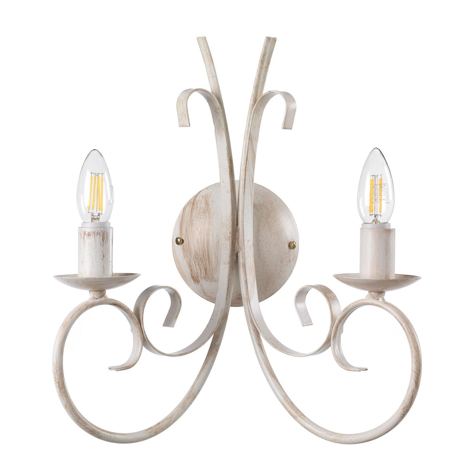 Vegglampe Pompei, 2 lyskilder, hvit antikk
