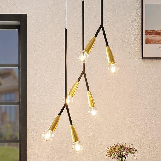 Lucande Carlea -riippuvalo, 6-lamp. musta-messinki