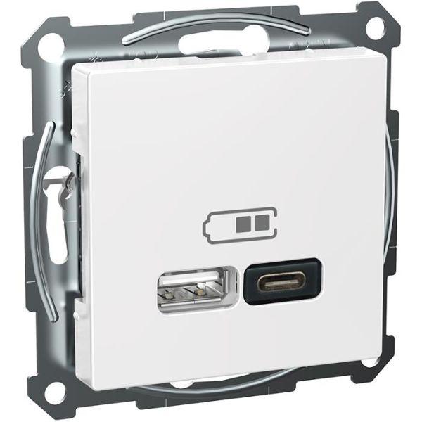 Schneider Electric Exxact WDE002980 Latausasema USB/USB-C, valkoinen