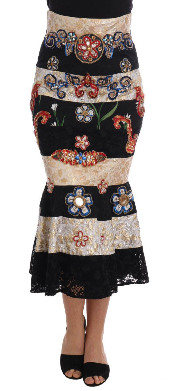 Dolce & Gabbana Women's Crystal Carretto Lace Skirt Black SKI1128 - IT46 XL