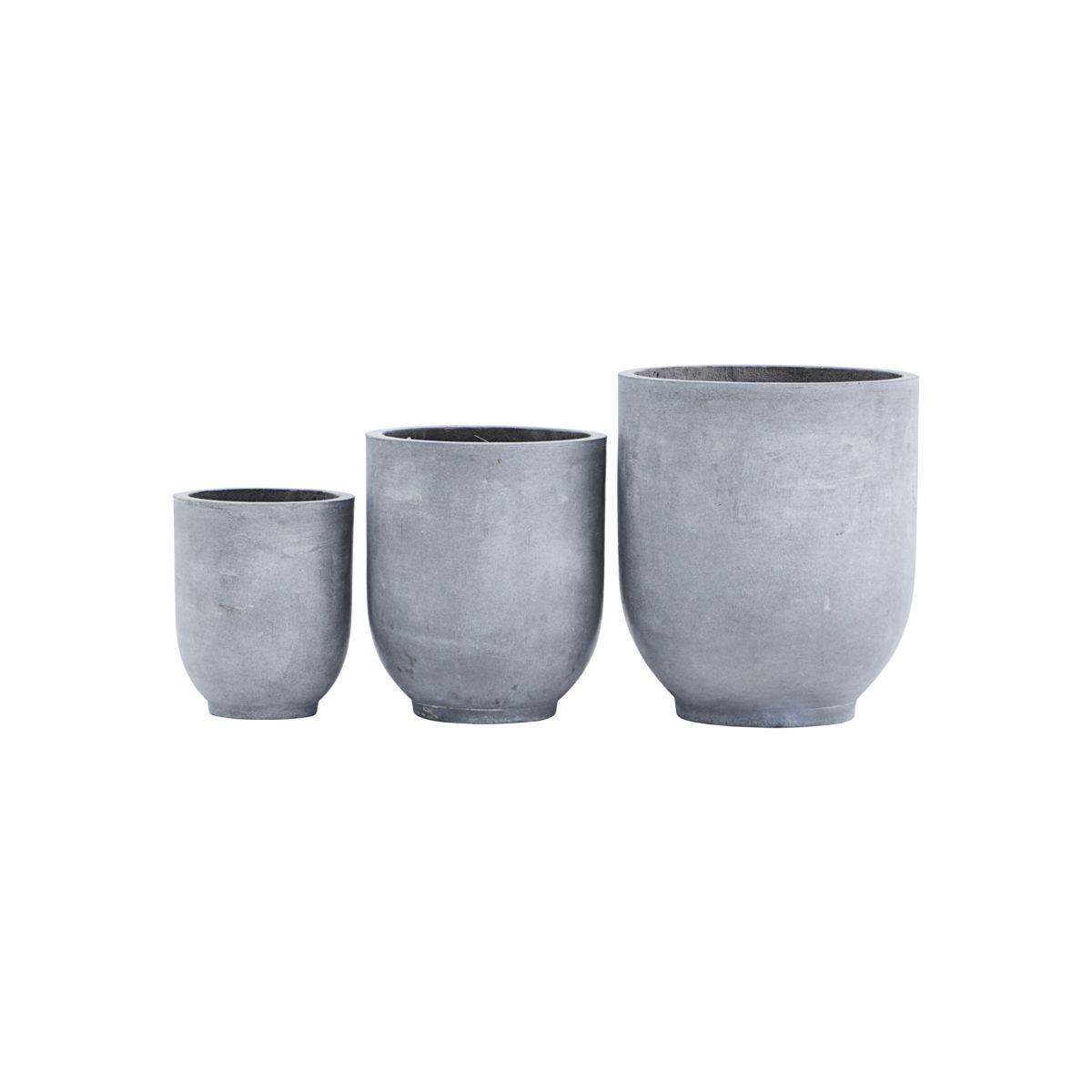 House Doctor - Gard Flowerpot Set of 3 - Grey (LY0101)