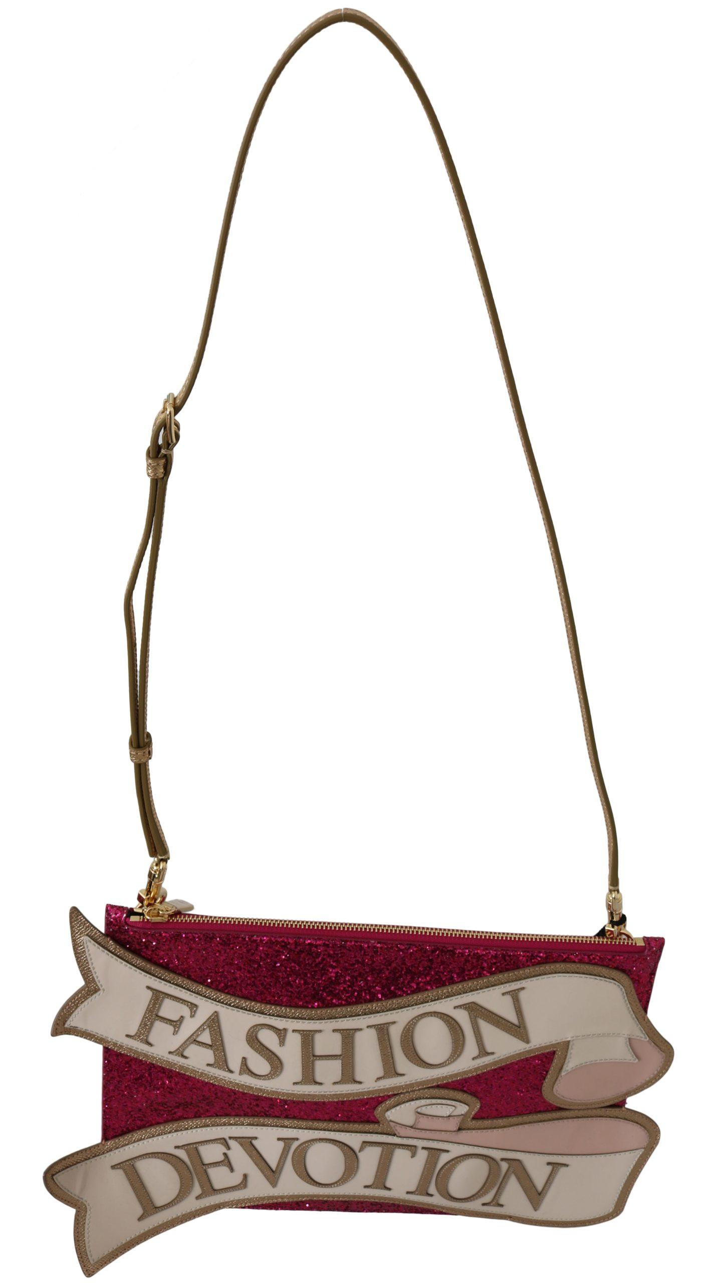 Dolce & Gabbana Women's Pink Glittered Fashion Shoulder Bag Pink VAS8735