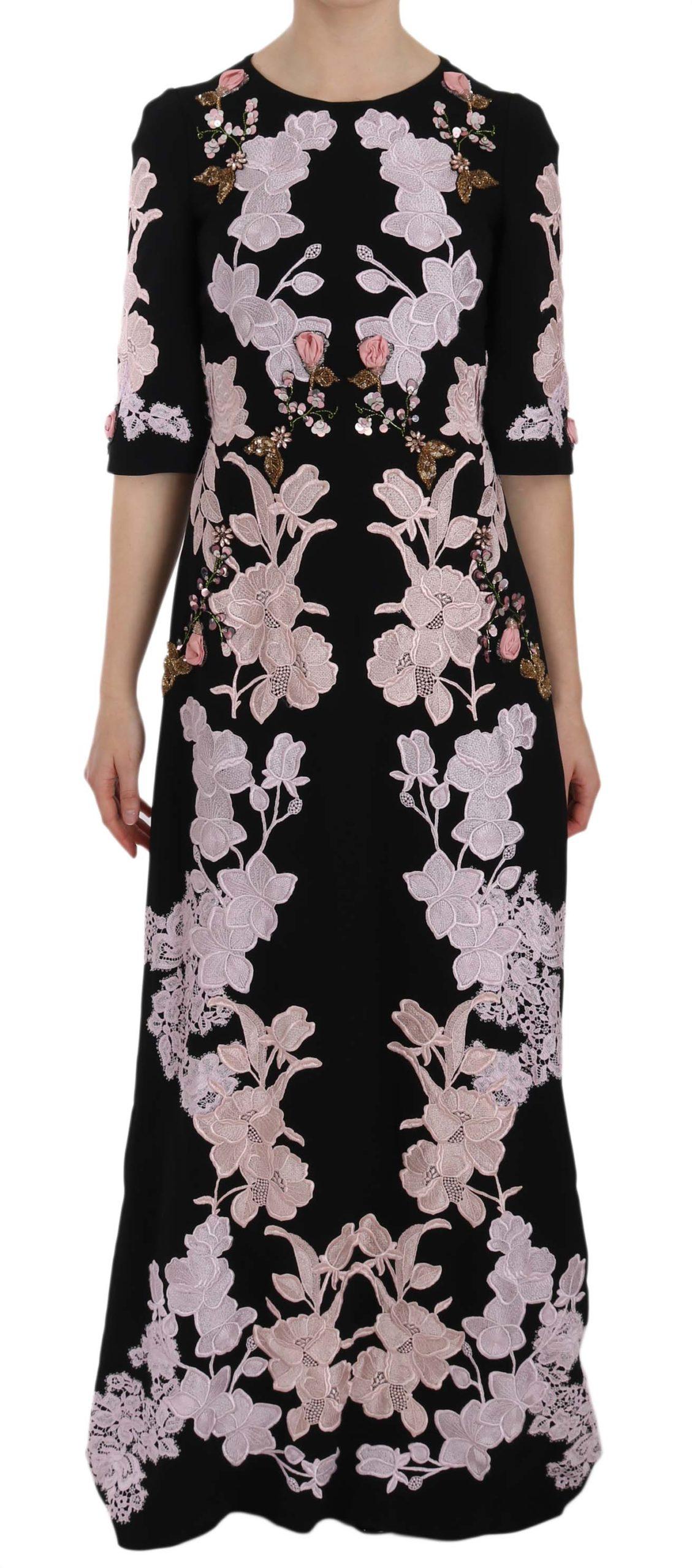 Dolce & Gabbana Women's Floral Lace Crystal Dress Black DR1660 - IT40|S