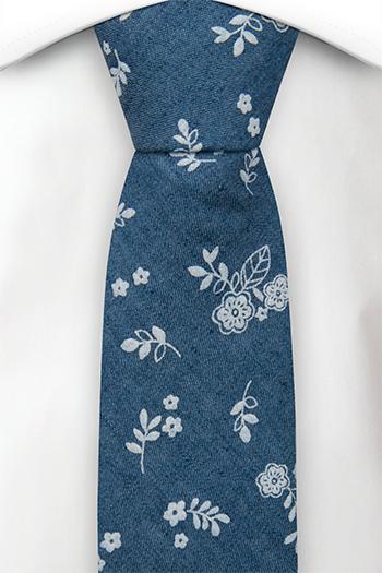 Bomull Smale Slips, Små, skarpe, hvite blomster på denimblått, Blå, Blomster