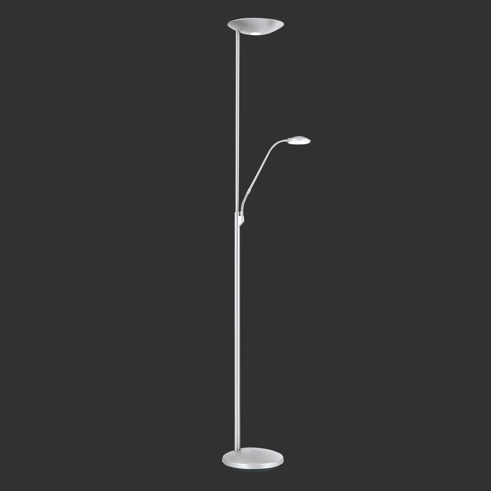 LED-uplight Cobra med leselampe matt nikkel