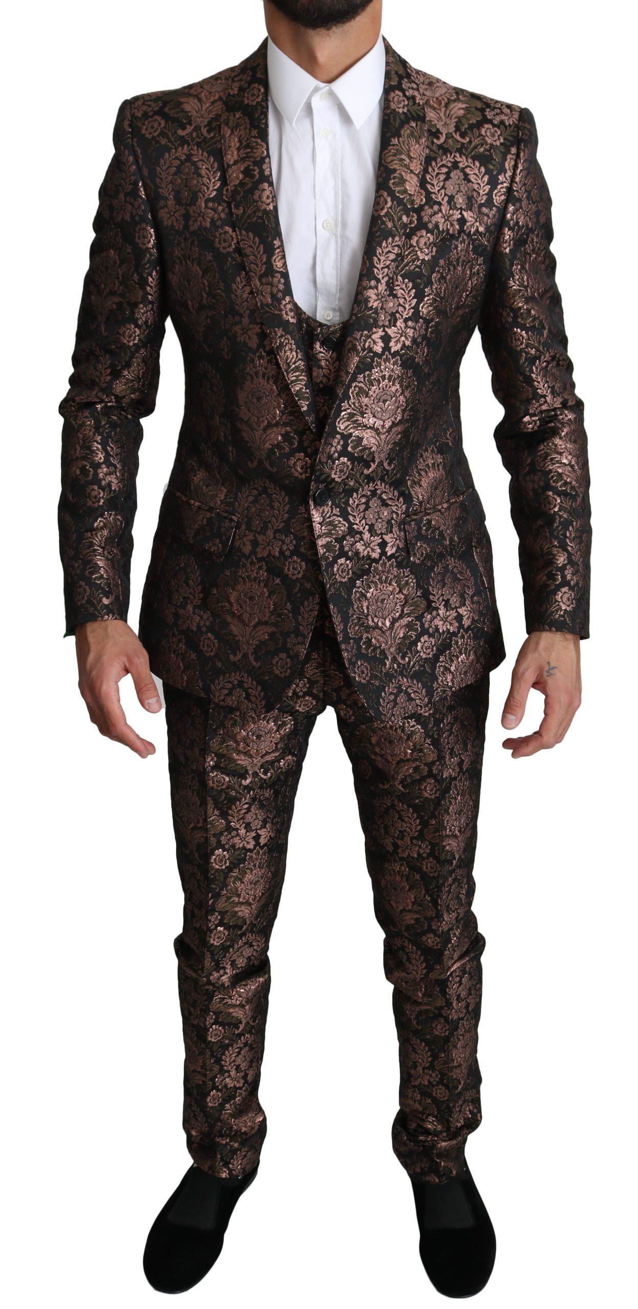 Dolce & Gabbana Men's Floral Brocade 3 Piece MARTINI Suit Rose Gold KOS1527 - IT48   M