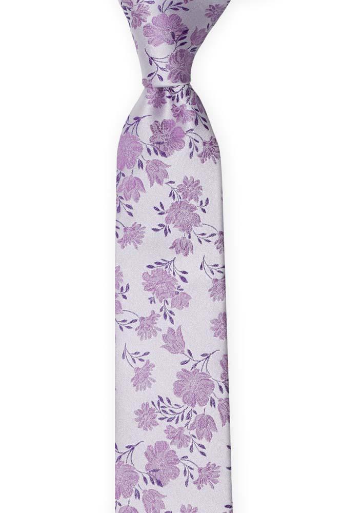 Silke Smale Slips, Lilla blomster på en sølvaktig base, Lilla, Blomstermotiv