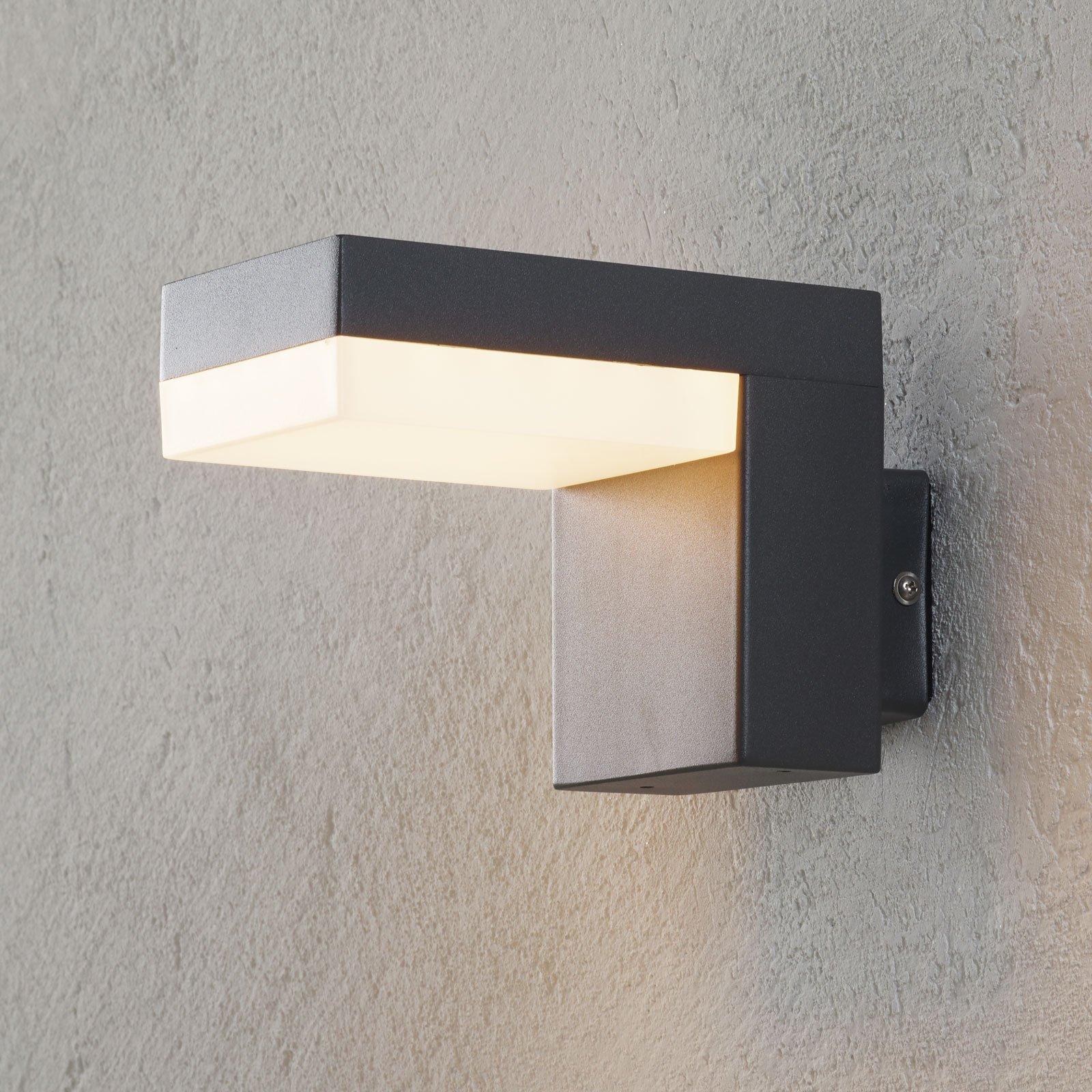 Utendørs LED-vegglampe Dionys i mørk grått