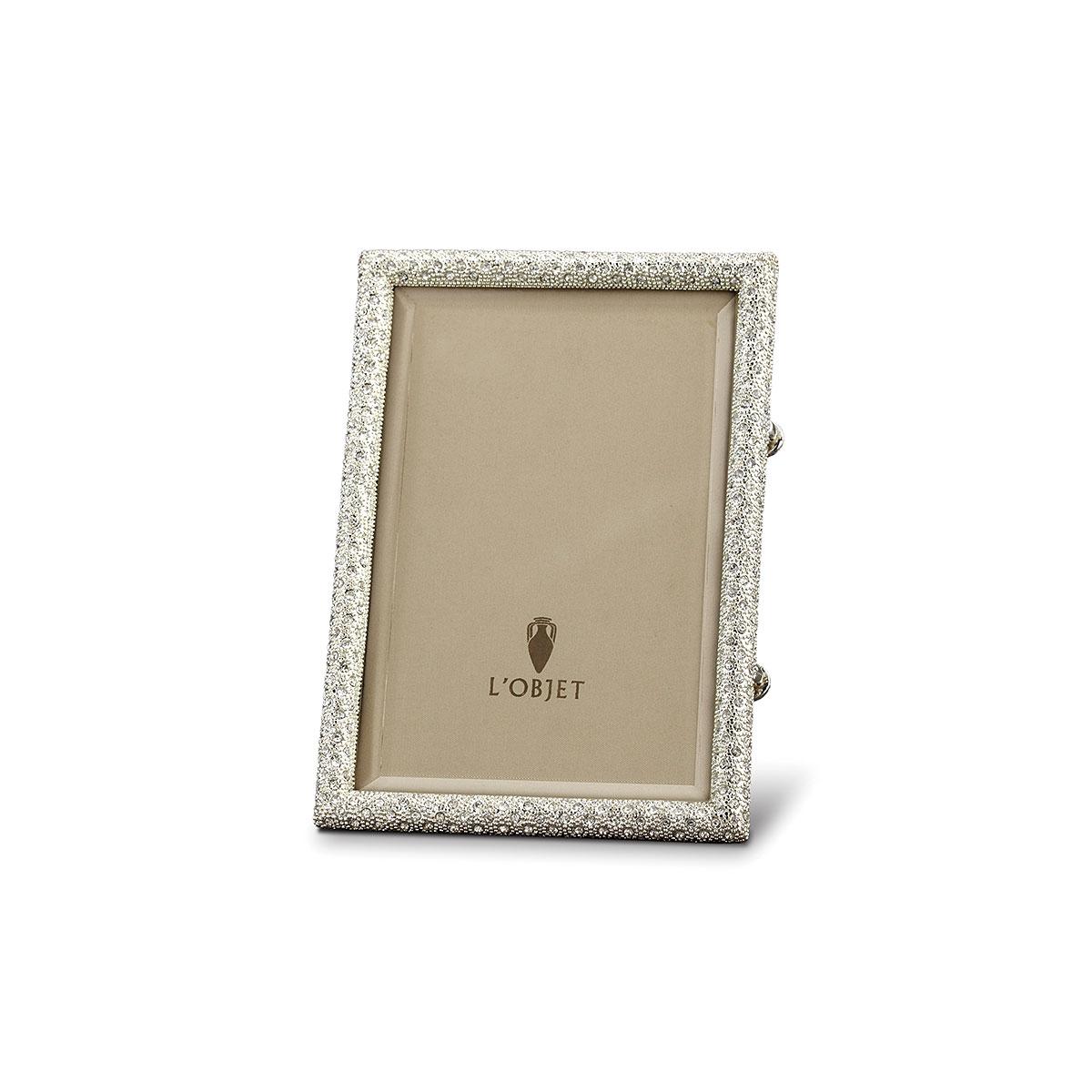 L'Objet I Rectangular Pave Frame Small Platinum White Crystals