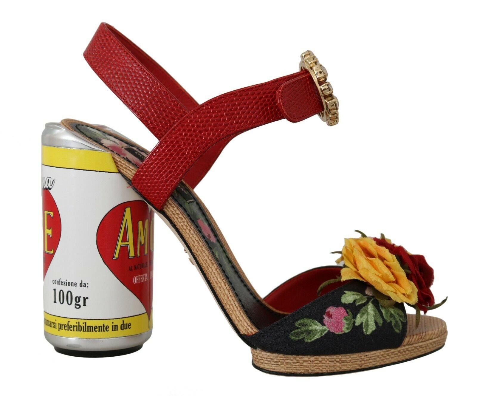 Dolce & Gabbana Women's Floral-Embellished AMORE Sandals Multicolor LA5788 - EU35/US4.5