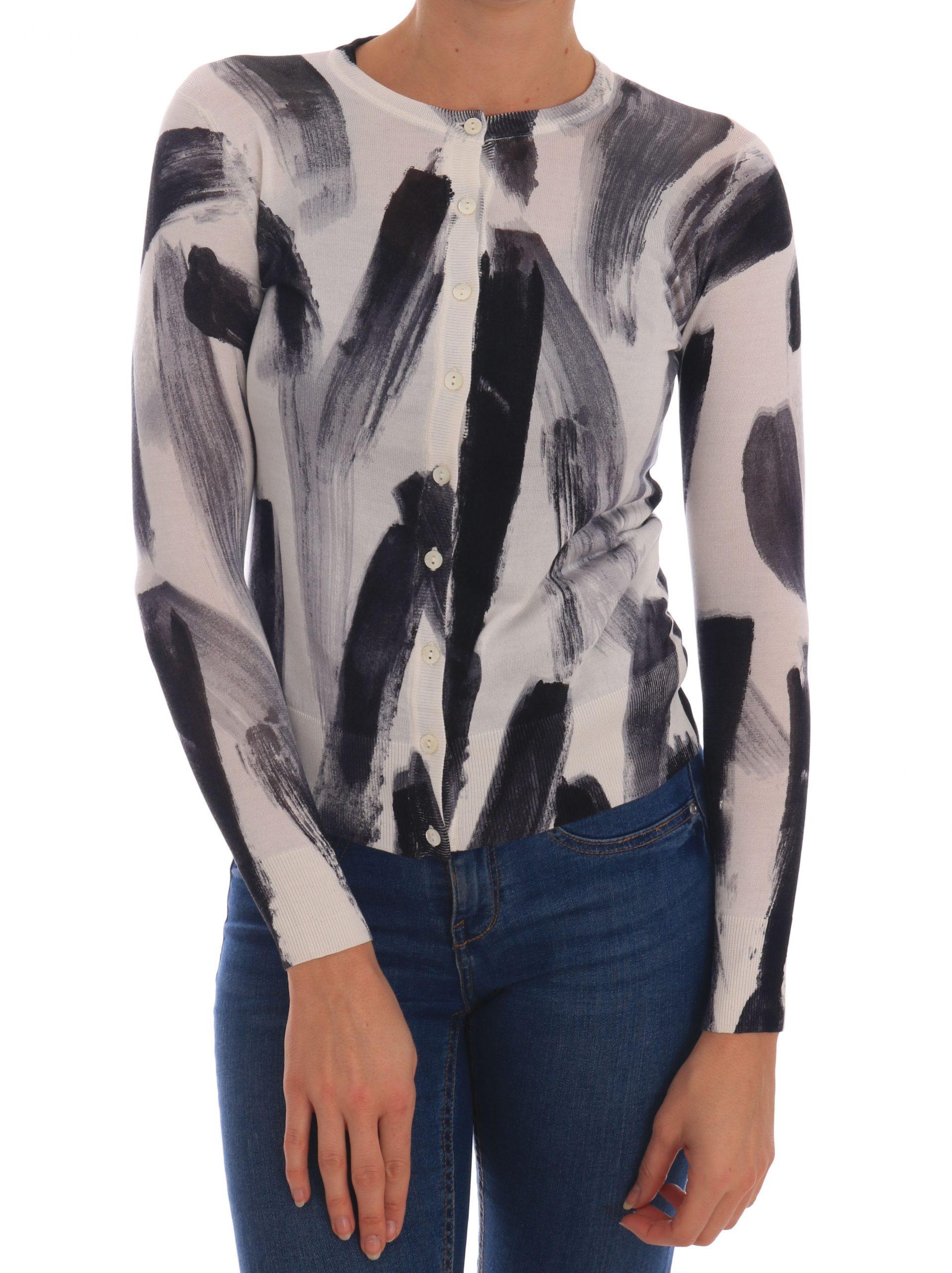 Dolce & Gabbana Women's Lightweight Silk Paint Stroke Cardigan Black TSH1924 - IT36 XXS