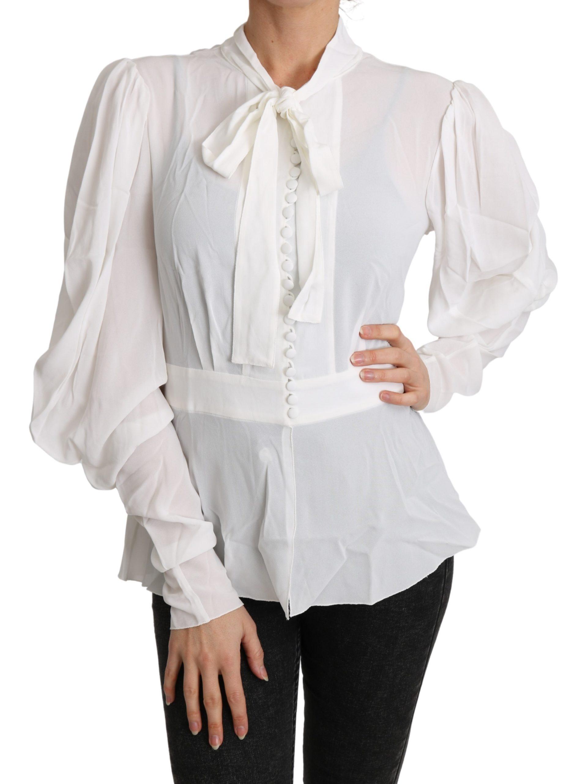 Dolce & Gabbana Women's Scarf Neck LS Top White TSH4829 - IT50|3XL