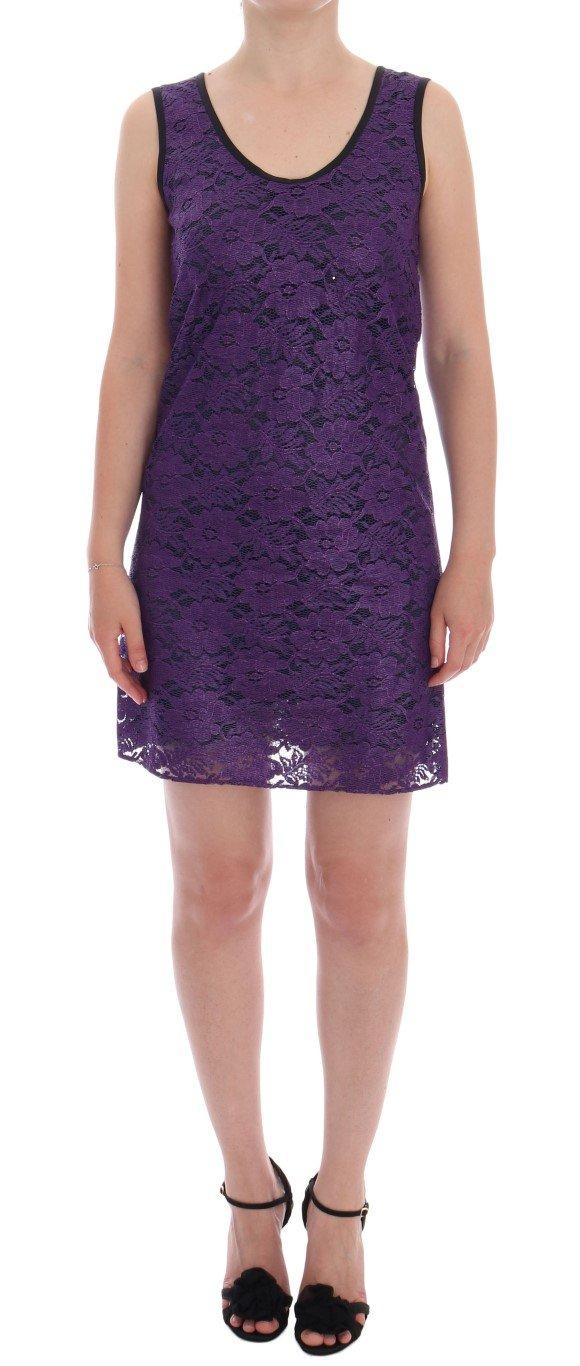 Dolce & Gabbana Women's Floral Lace Mini Shift Dress Purple DR1000 - IT38|XS