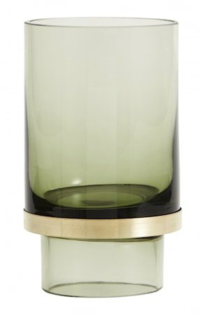 Stearinlysholder/Vase Glass - Transparent Green