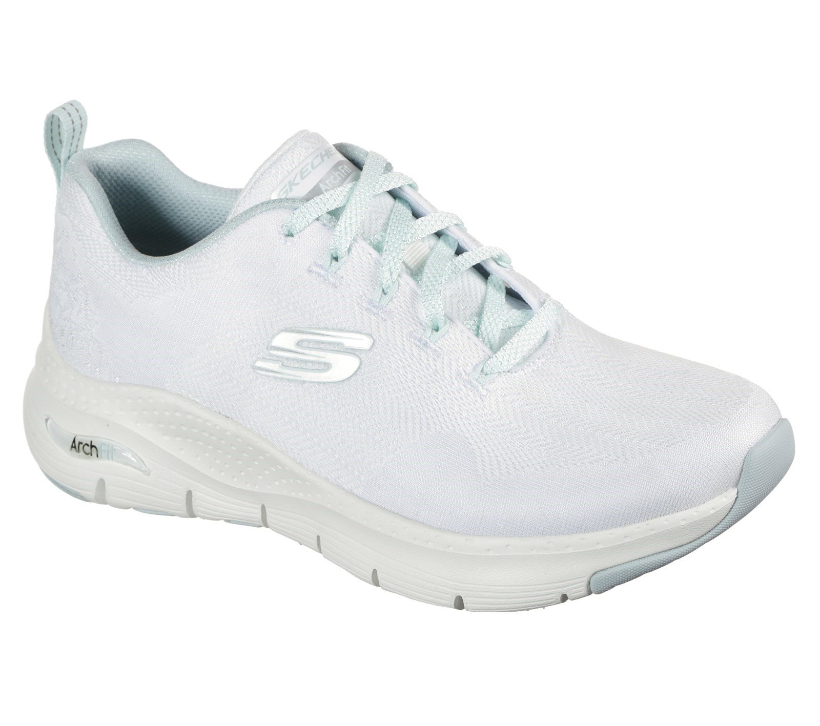 Skechers Women's Arch Fit Comfy Wave Trainer Various Colours 31042 - White/Mint 3