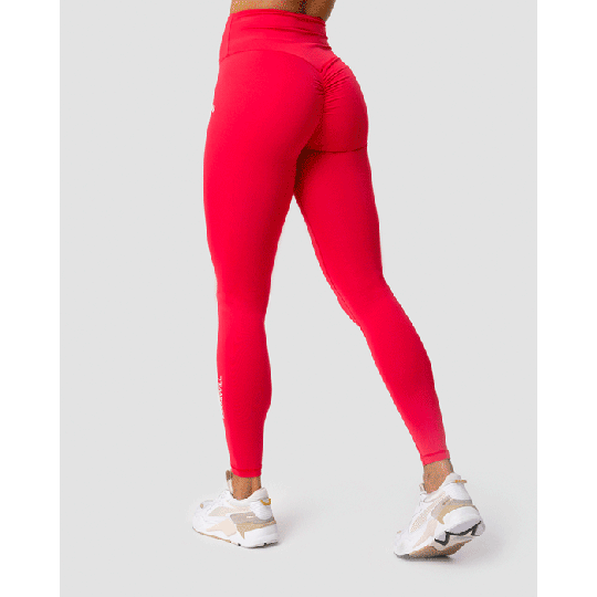 Scrunch V-Shape Tights, Raspberry Red