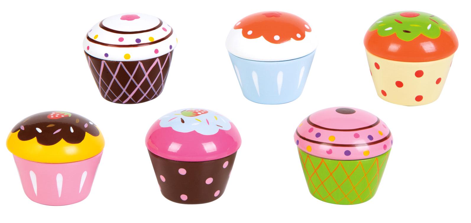 Small Wood - Cupcake Assortment 6Pcs (L40128)