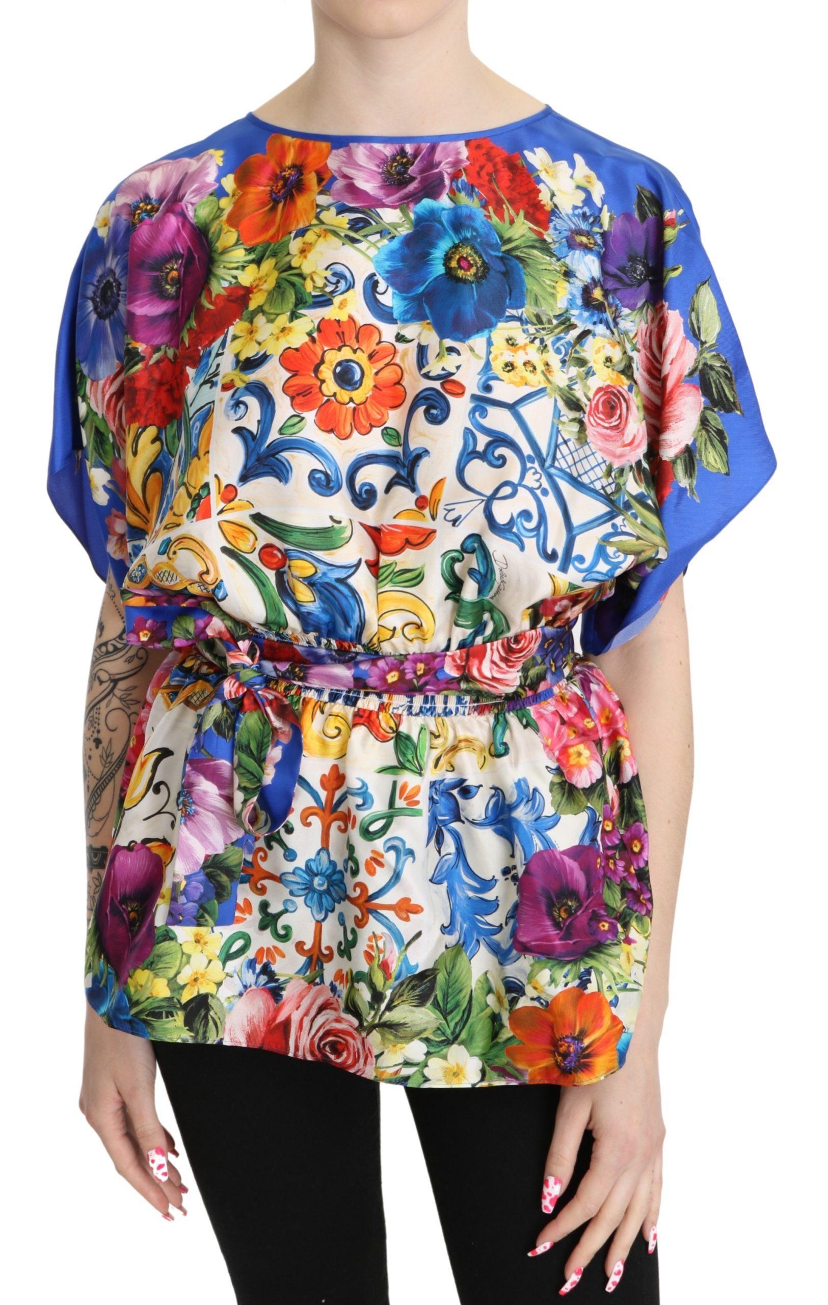 Dolce & Gabbana Women's Majolica Silk Casual Top Multicolor TSH5263 - IT42|M