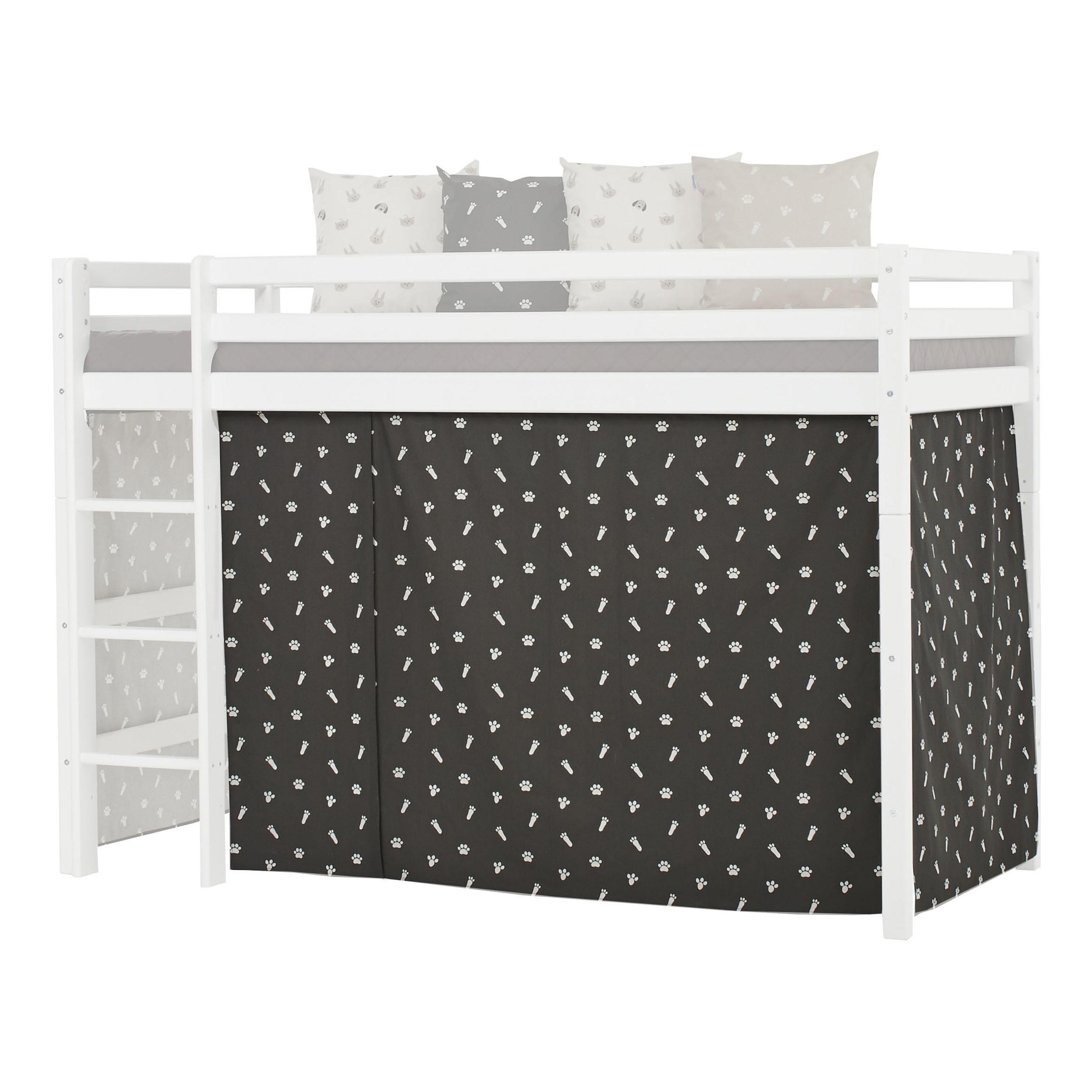 Hoppekids - Play Curtain Mid-High Bed 90x200 cm - Pets Granite Grey