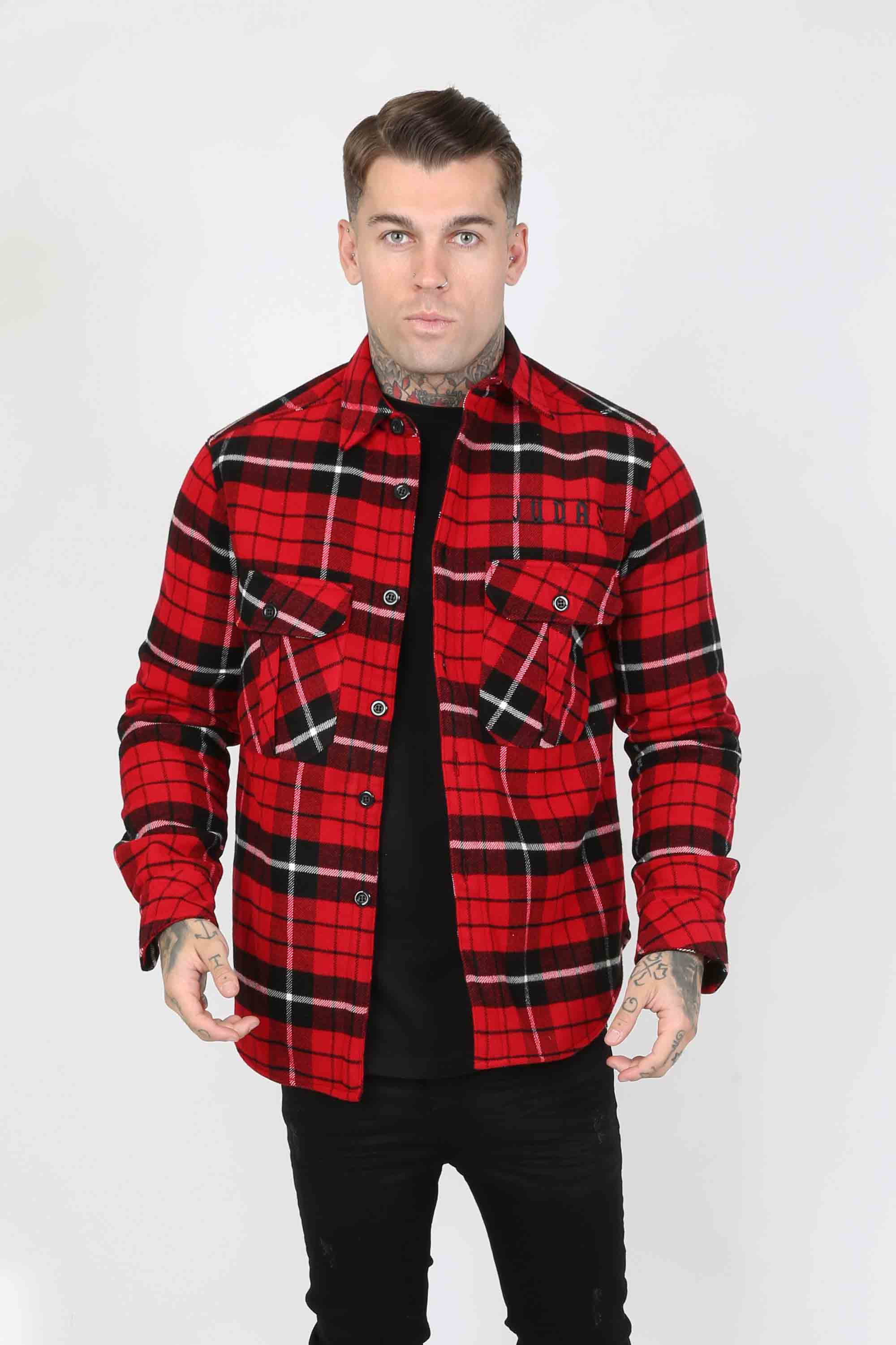 Over Plaid Men's Shirt - Red, Small