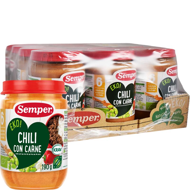 """Laatikollinen Luomu Lastenruokaa """"Chili Con Carne"""" 12 x 190g - 28% alennus"""